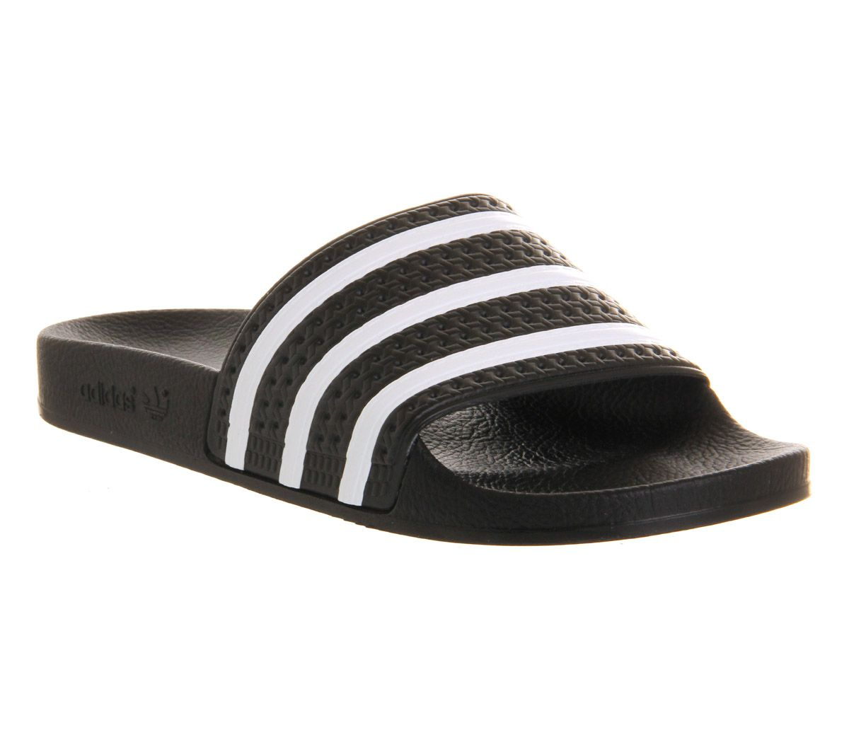 74724d833 adidas Adilette Sliders Black White - Office Girl