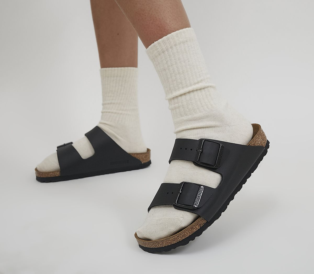 14cf74285945 Birkenstock Arizona Two Strap Sandals Black Birko Flor - Sandals