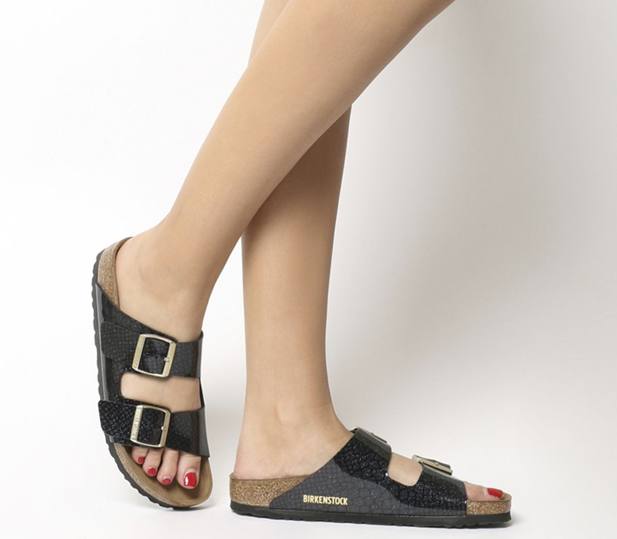 00413f541f4 Birkenstock Arizona Two Strap Sandals Magic Snake Black - Sandals