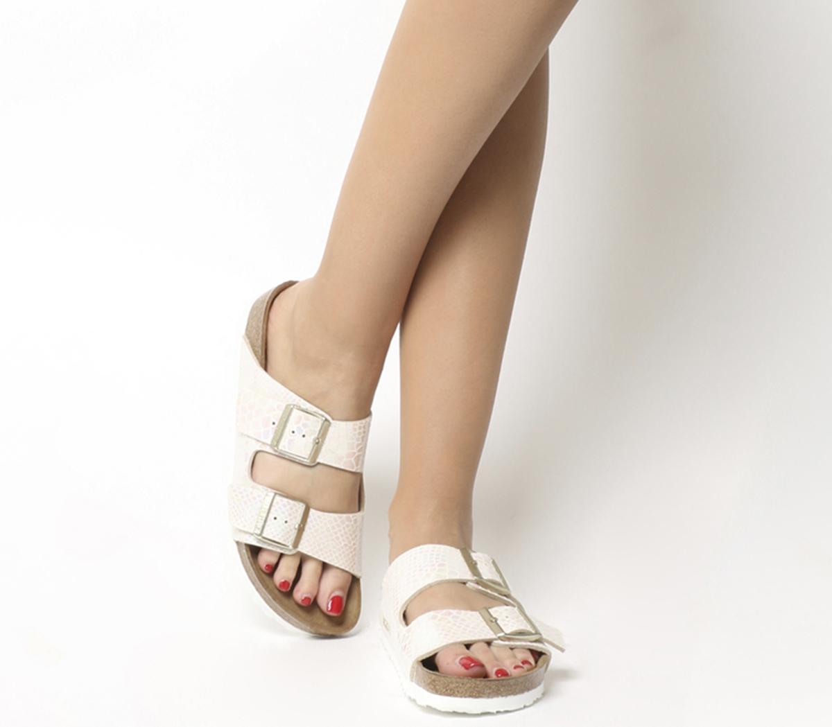 669d9fa6221e8 Birkenstock Arizona Two Strap Shiny Snake Cream - Sandals