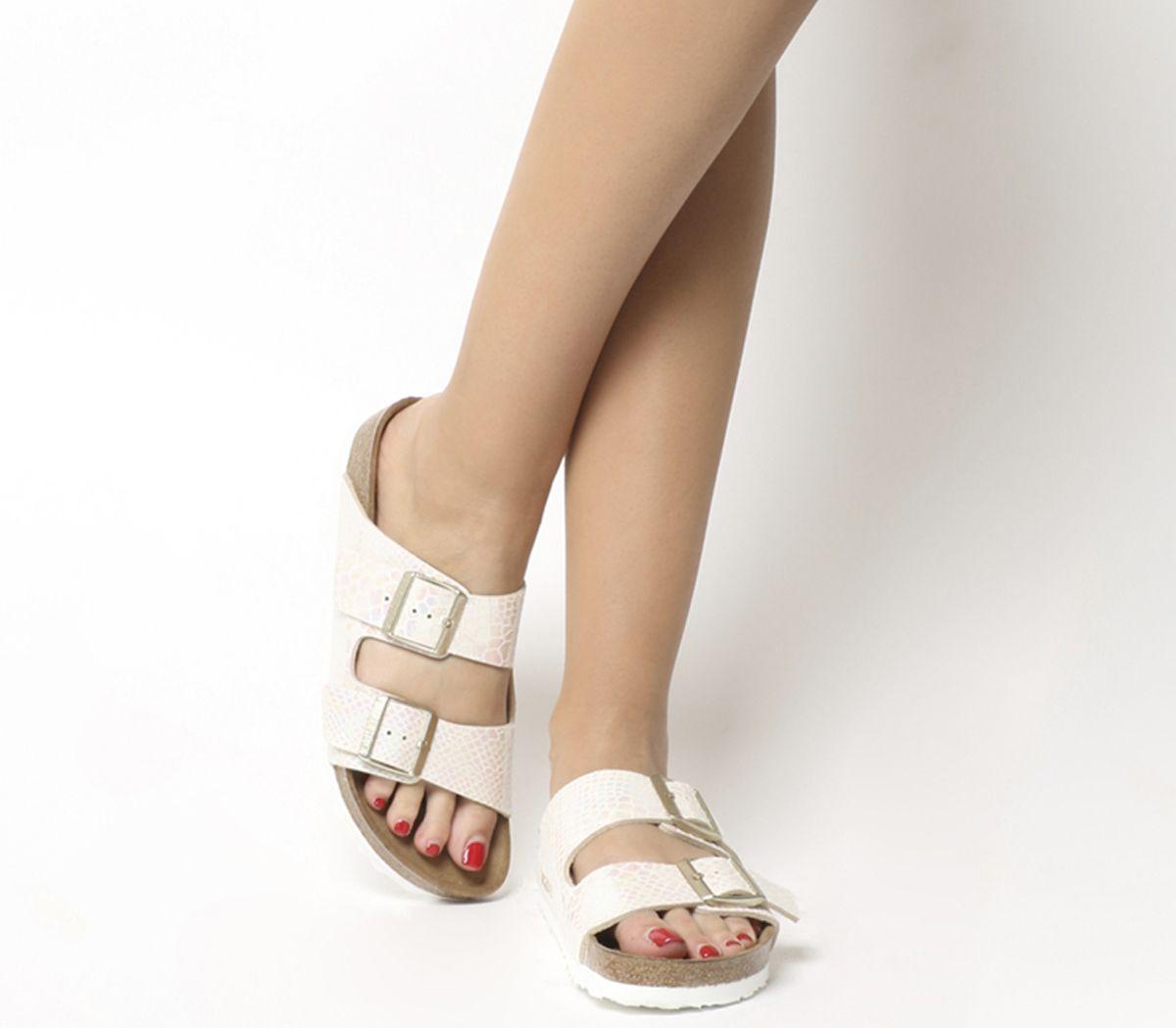 60933e9614db Birkenstock Arizona Two Strap Shiny Snake Cream - Sandals