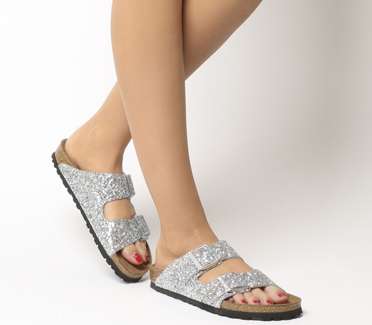 5687da4a0d4a Birkenstock Arizona Two Strap Sandals Oc Glitter Silver - Sandals
