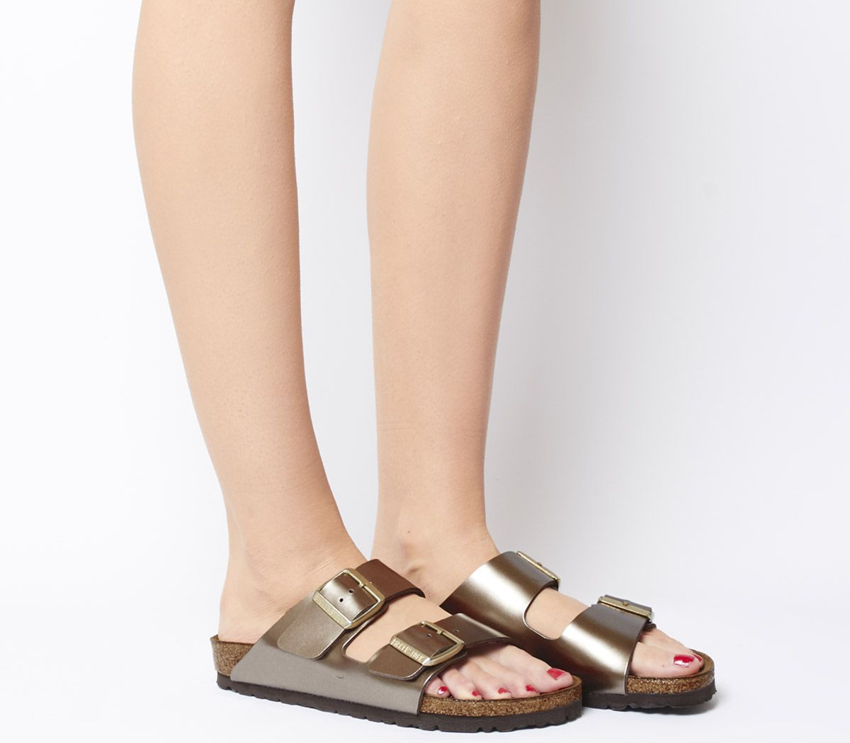 ec219cd86c506 Birkenstock Arizona Two Strap Sandals Electric Metallic Taupe - Sandals