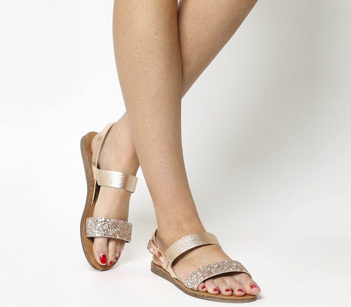 59888dba4 Office Honey Slingback Sandals Rose Gold Leather Glitter - Sandals