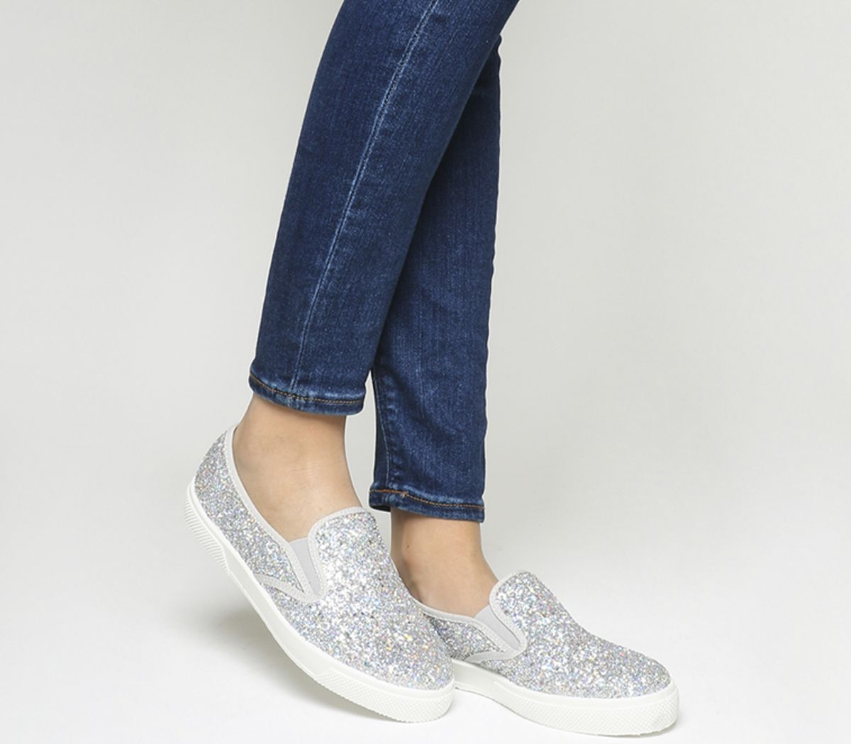 f7d02662f750f8 Office Kicker Slip On Trainers New Silver Holographic Glitter - Flats