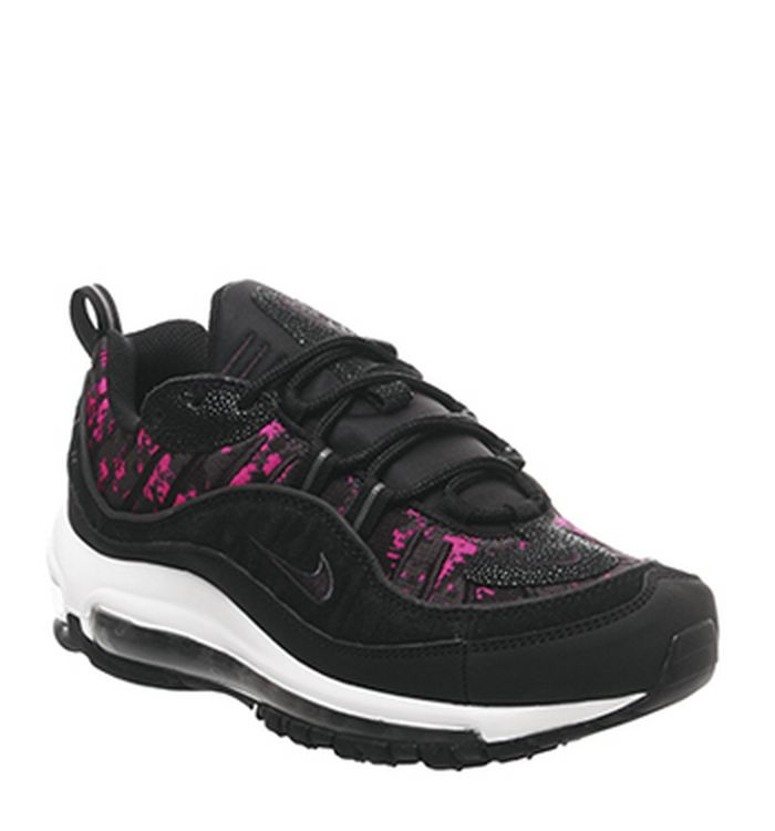 timeless design 41064 f3db7 Launching 23-05-2019 · Nike Air Max 98 Trainers Black Black Hyper Pink Camo  Snake