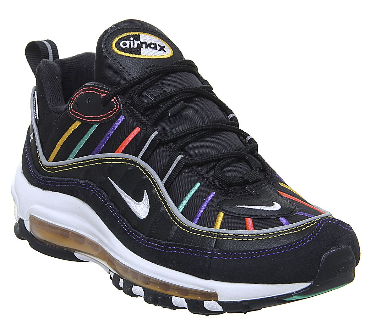 huge selection of 3acf1 3f696 Nike Air Max 98 Trainers Black Flash Crimson Kinetic Green ...