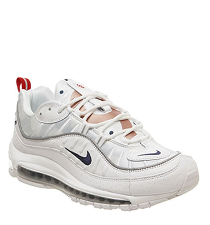 74872f59f6 16-05-2019 · Nike Air Max 98 Trainers White Midnight Navy Rose Gold.  £165.00. Quickbuy