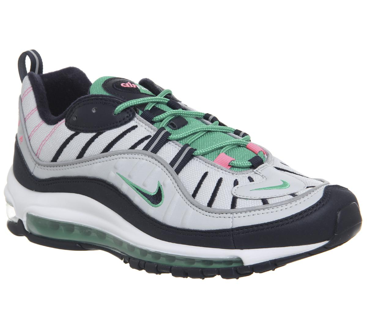 Muelle del puente Arqueólogo Preciso  Nike Air Max 98 Trainers Pure Platinum Obsidian Kinetic Green - His trainers