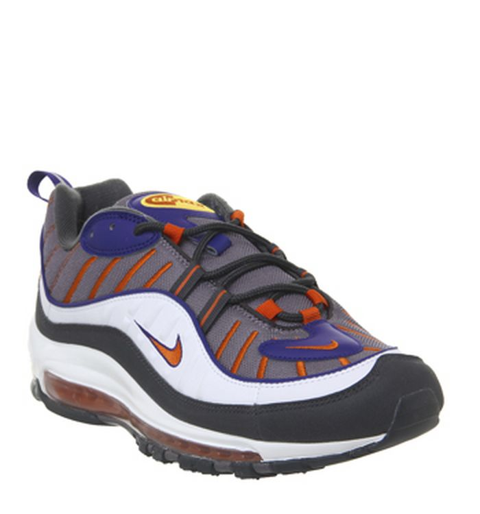 separation shoes 8cbac 67117 Launching 18-04-2019. Nike Air Max 98 Trainers Gunsmoke Team Orange Laser  White