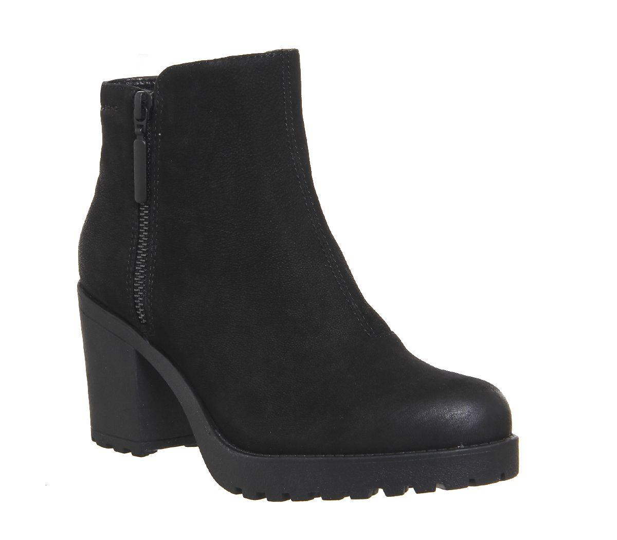 c0bd01ab23b1b3 Vagabond Grace Zip Boots Black Nubuck - Ankle Boots