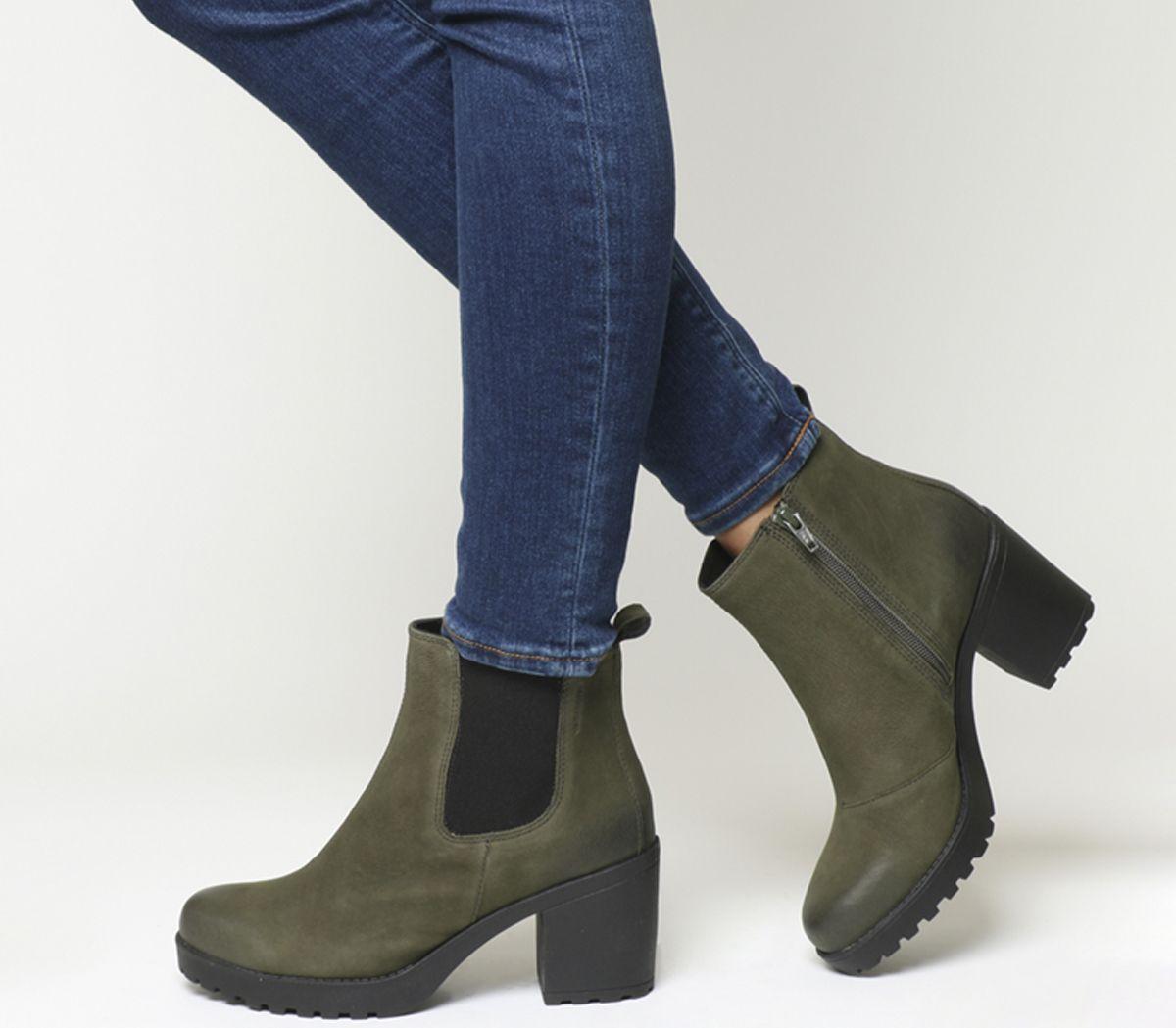 ad0274f7bec507 Vagabond Grace Chelsea Boots Dark Olive Nubuck - Ankle Boots