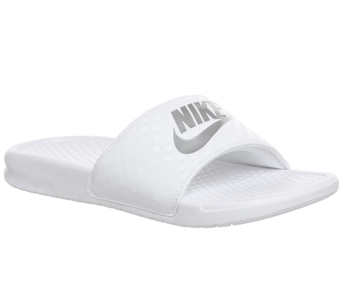 48a2dc4906f5 Nike Benassi Sliders White Silver - Sandals