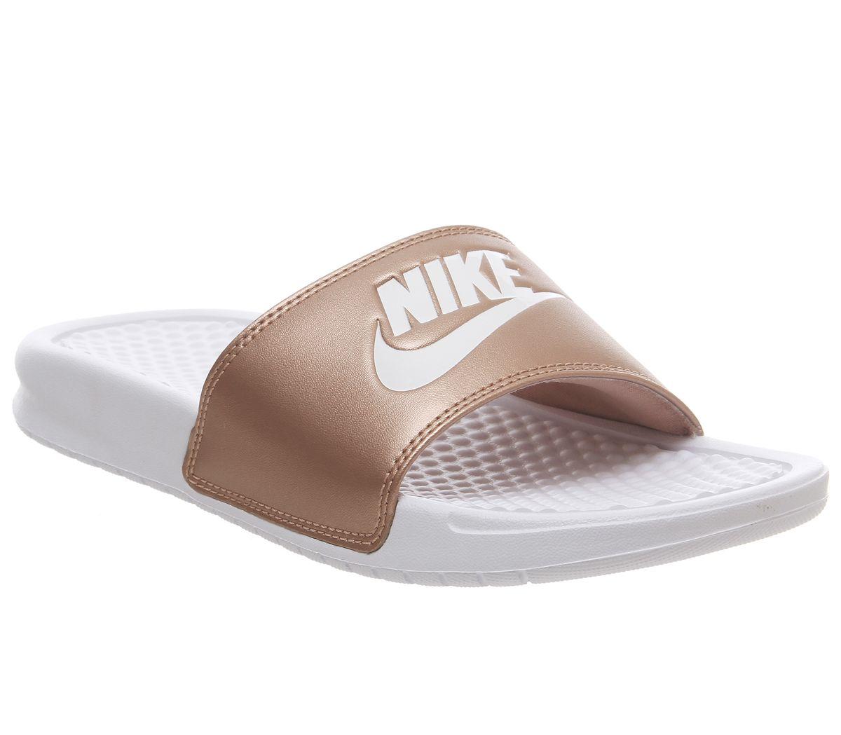 54c7504ba Nike Benassi Sliders White White Metallic Red Bronze Jdi F - Sandals
