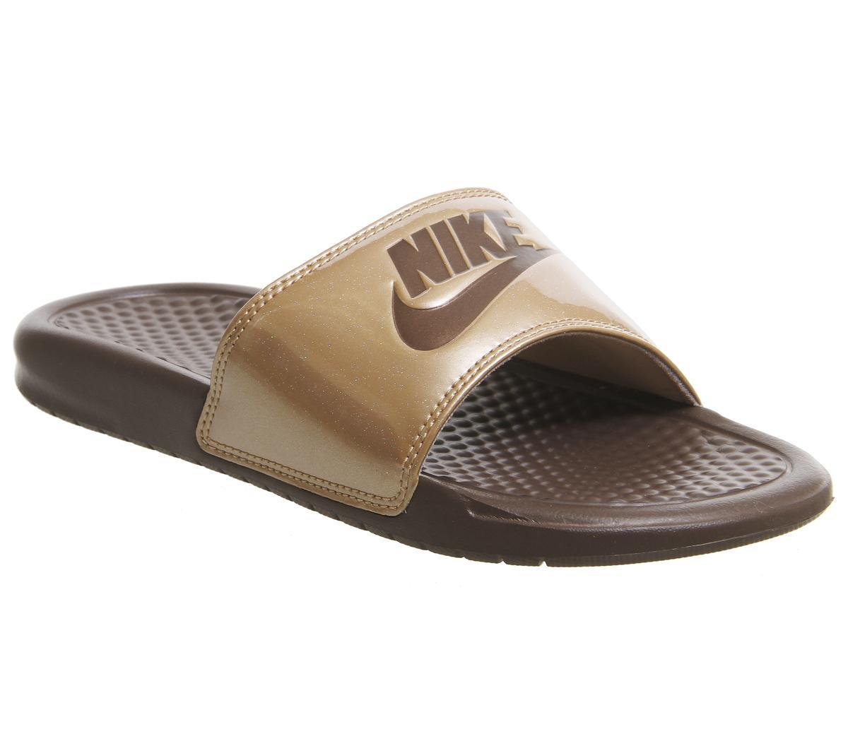 c0fcadcf39b7 Nike Womens Benassi Sliders Metallic Red Bronze Mahogany Mink - Sandals