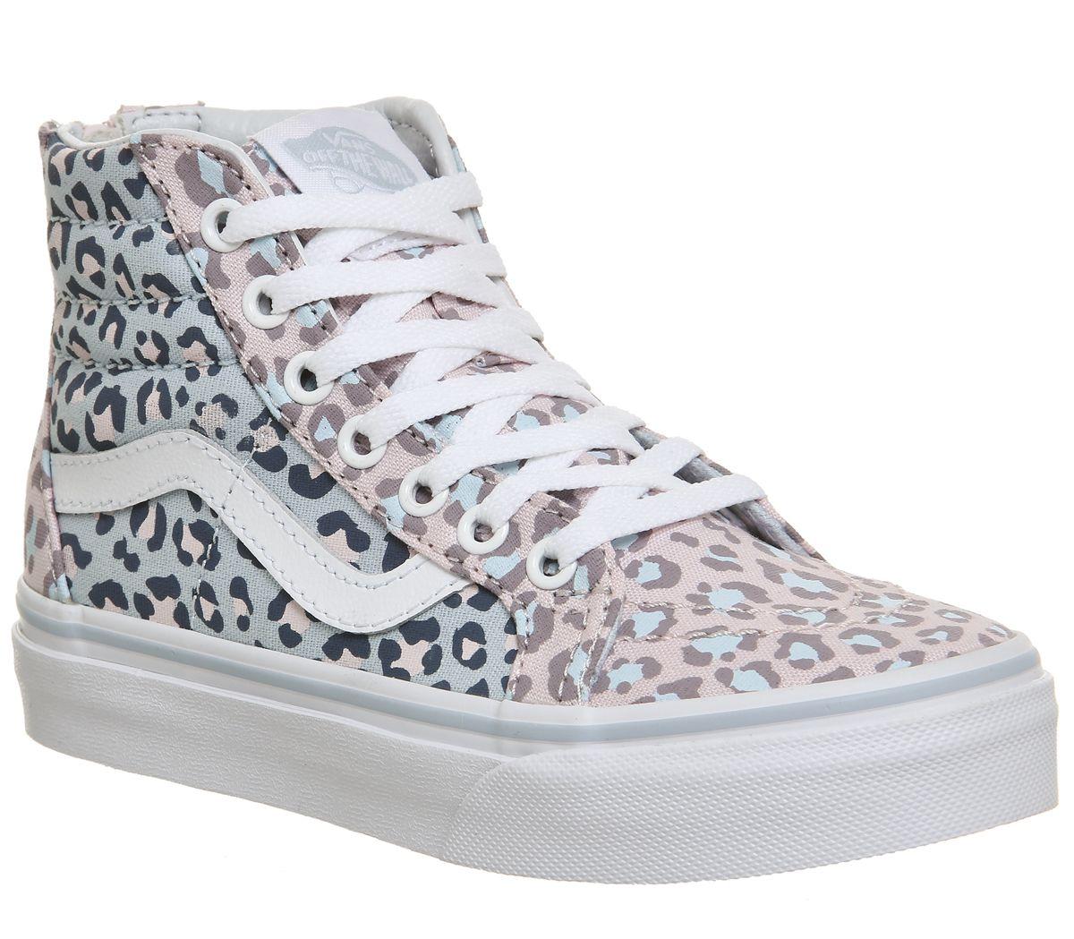 2d014e2aa5a9e0 Vans Sk8 Hi Kids Chalk Pink Baby Blue Leopard - Unisex
