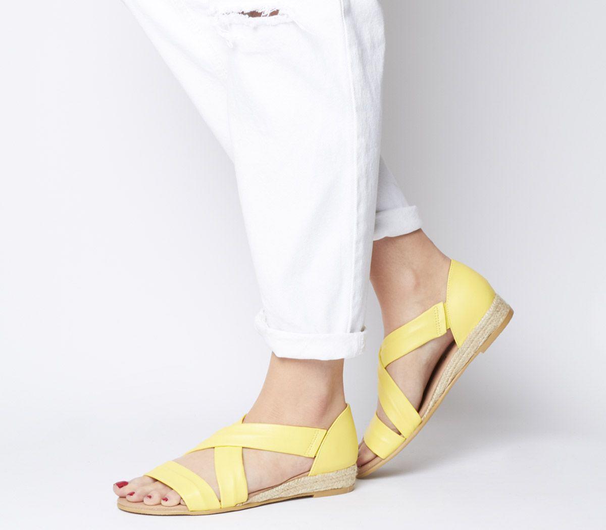 1ef3165aac94 Office Hallie Cross Strap Espadrilles Lemon Leather - Sandals