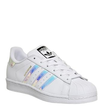 Details about Women's Adidas Superstar Gs Trainers White Silver Holographic size UK 4 EU 36.5
