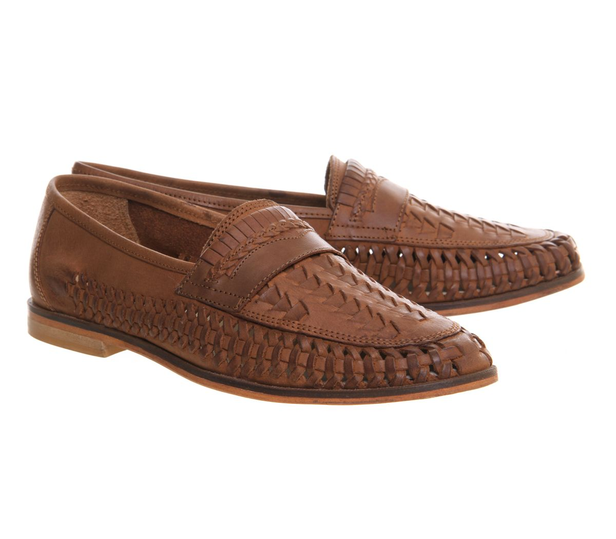 063619cfec9e5d Office Bow Weave Slip On Loafers Tan Washed Leather - Casual