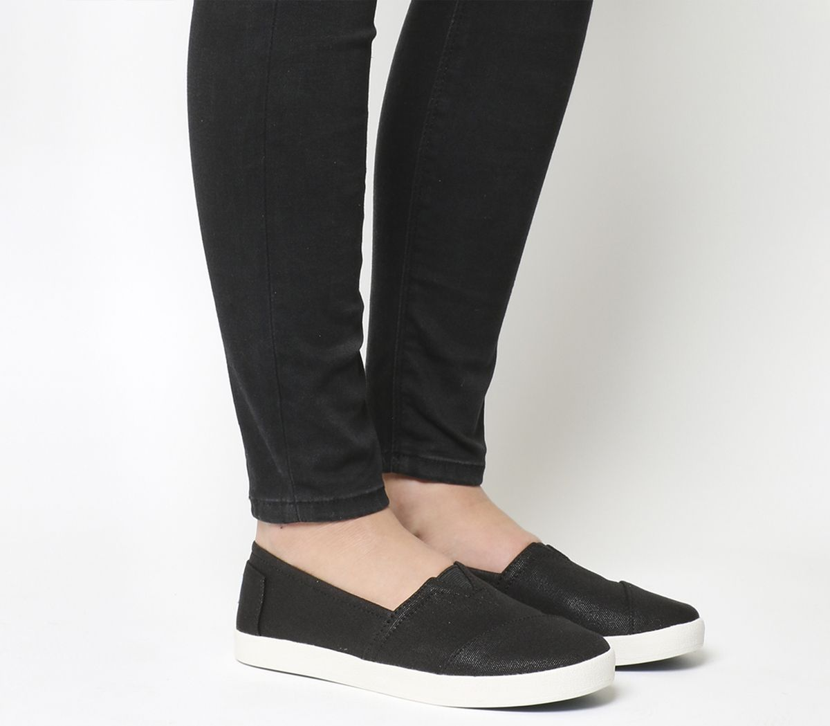 0c4b9b61371 Toms Avalon Sneaker Black Coated Canvas - Flats