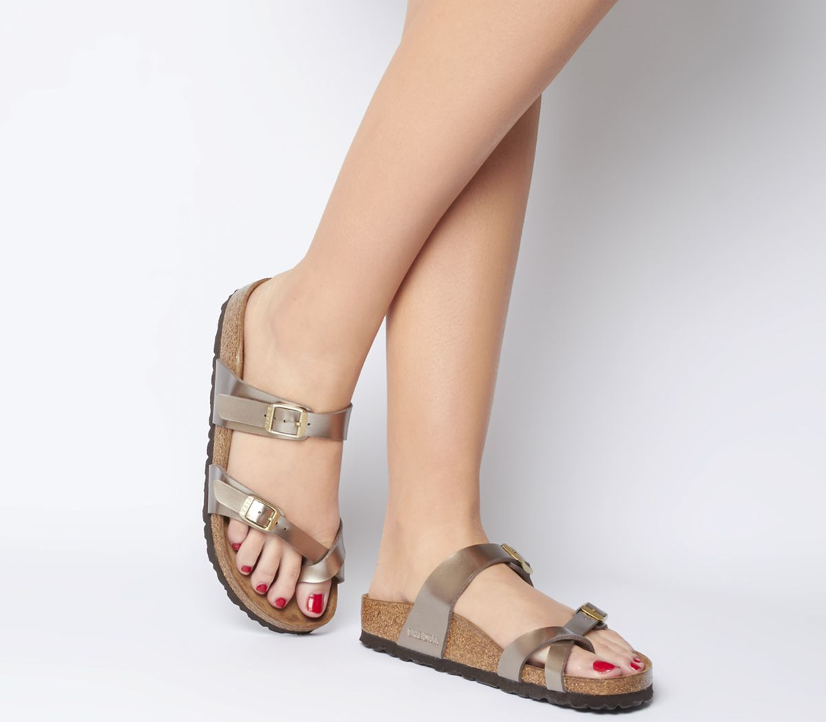 e24c5069a Birkenstock Mayari Cross Strap Sandals Electric Metallic Taupe - Sandals