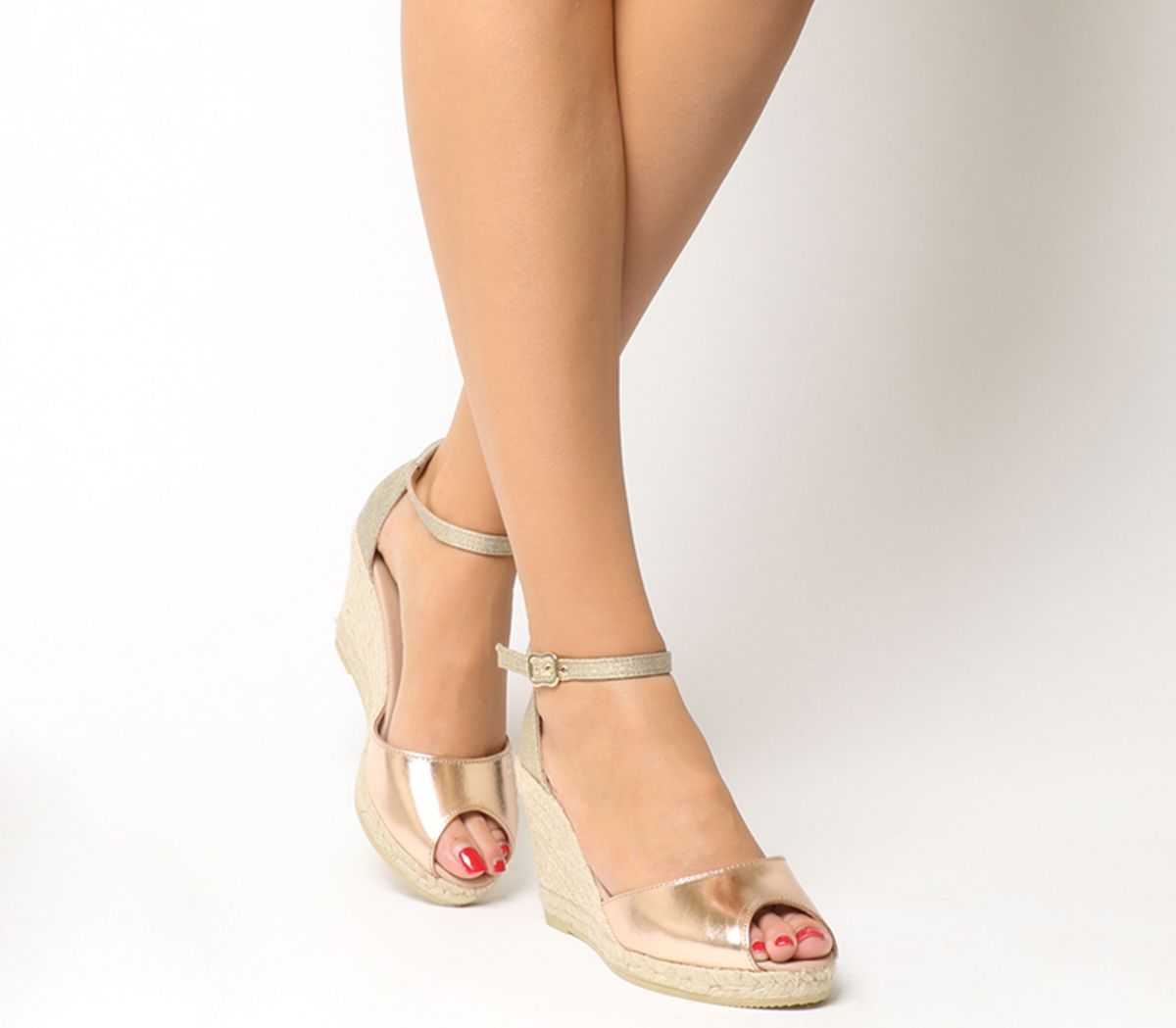 58733b987be Gaimo for OFFICE Susan Wedge Espadrilles Rose Gold Leather Metallic ...