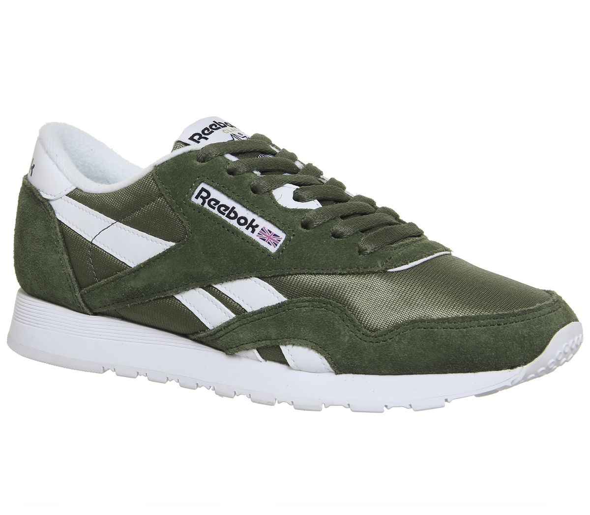 5f6bf0d0a65db Reebok Cl Nylon Trainers Hunter Green White - Unisex Sports