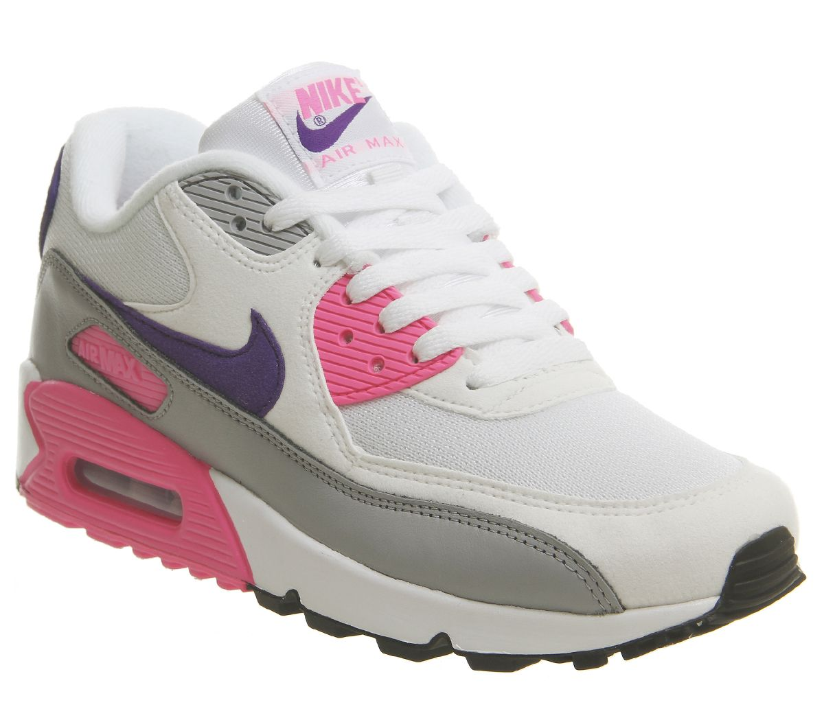 new style 18c21 21b6b Nike Air Max 90 Trainers White Court Purple Wolf Grey Laser Pink F ...