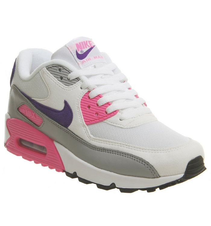 24b4714a47ed Nike Air Max 90 Trainers White Court Purple Wolf Grey Laser Pink F ...