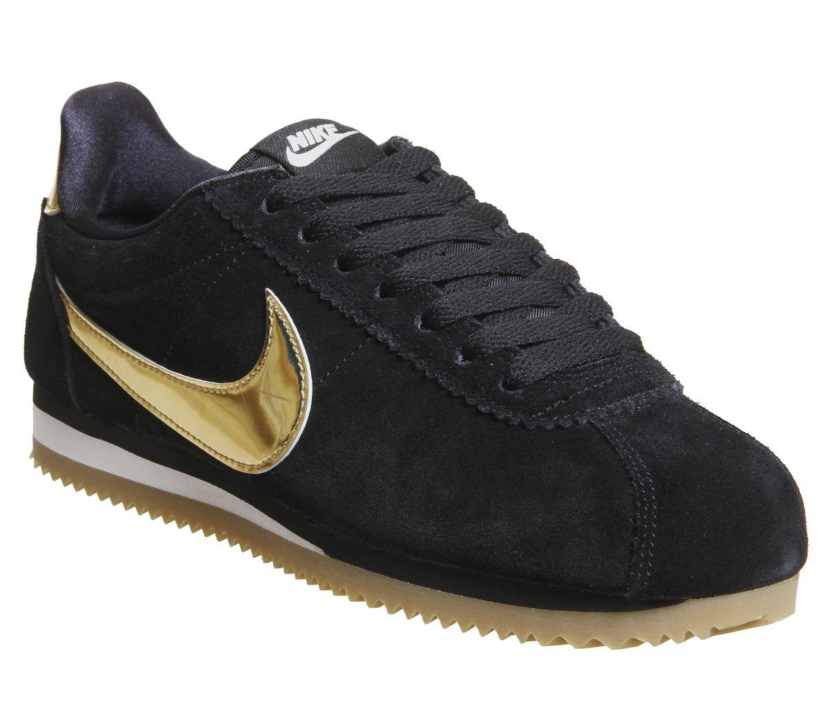 best sneakers 6533e dae9f Nike Classic Cortez Og Trainers Black Metallic Gold Phantom ...