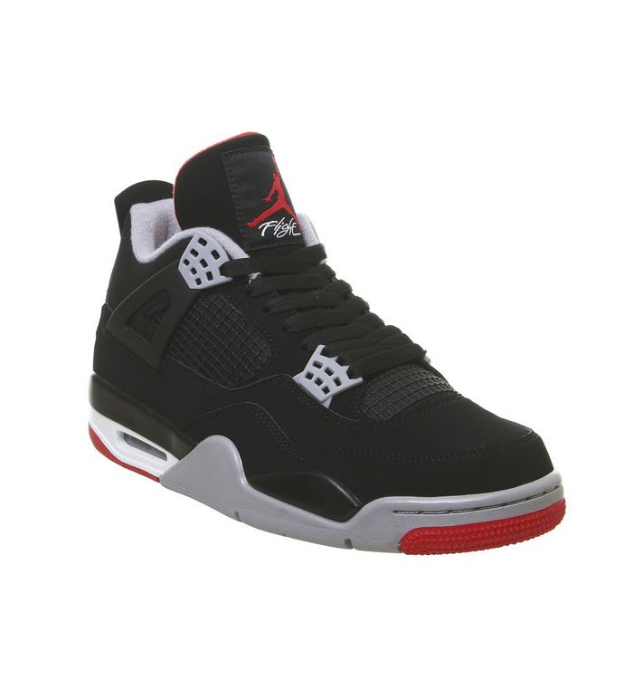 63af0ac1caf Jordan Jordan 4 Retro Trainers Black Fire Red Cement Grey Summit ...