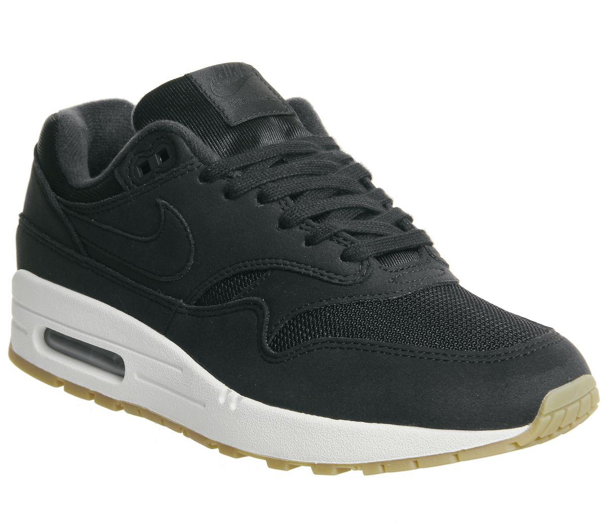 b8c0956907f33 Nike Air Max 1 Trainers Black Gum F - Hers trainers