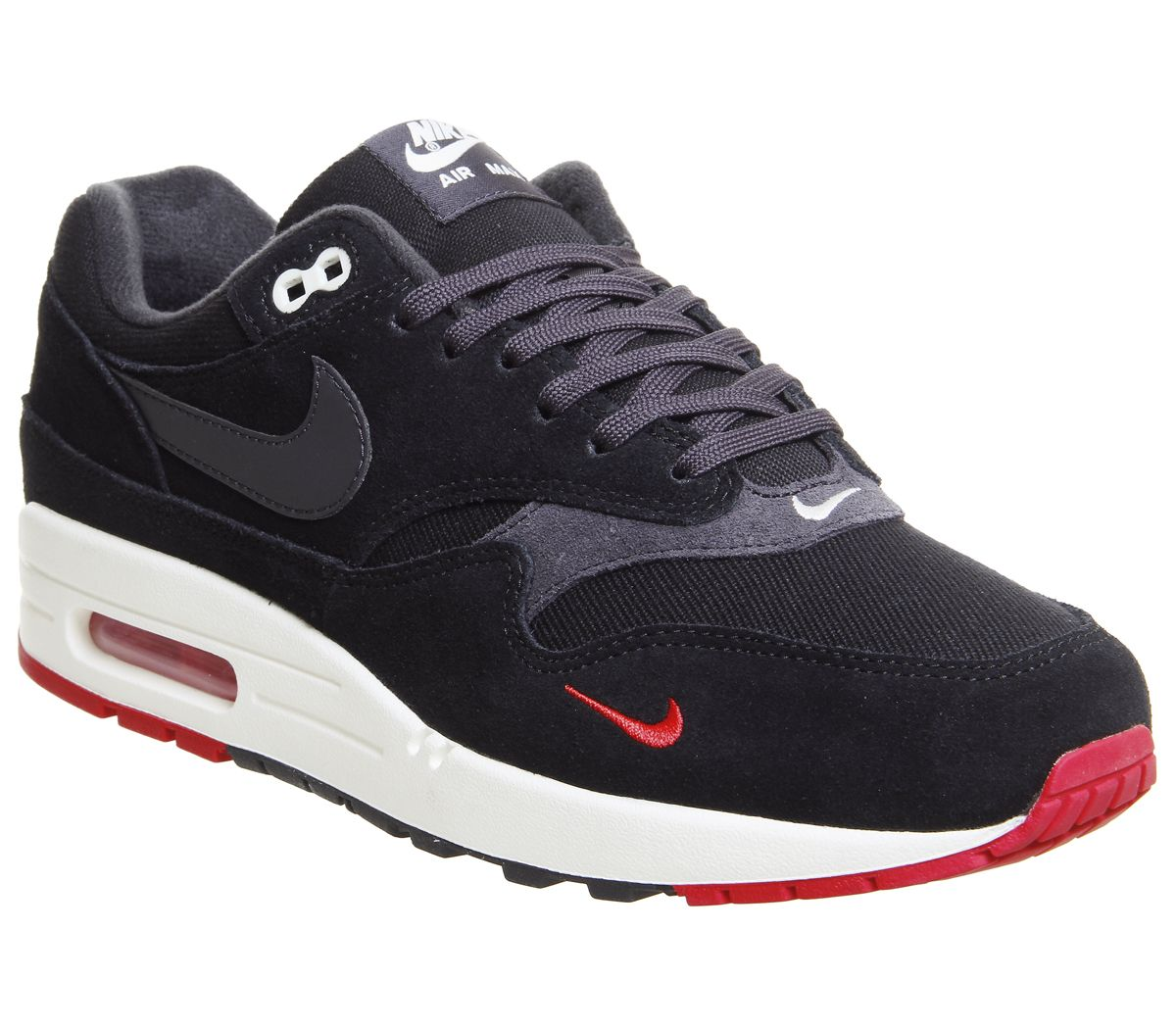 30c32c2315 Nike Air Max 1 Trainers Black Oil Grey Red - His trainers
