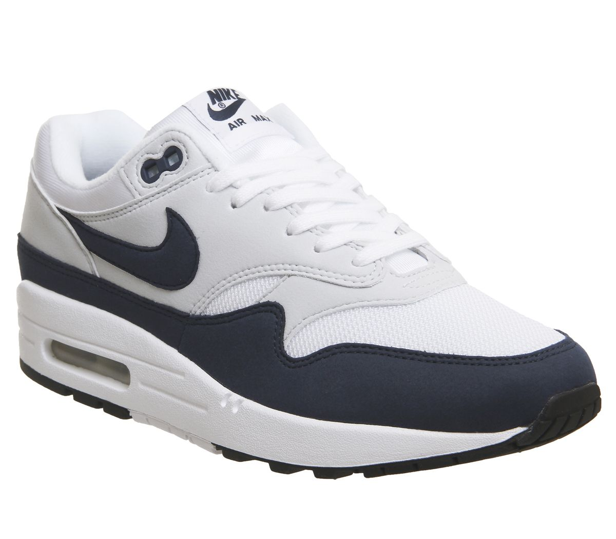 check out 3a9d4 34625 Nike Air Max 1 Trainers White Obsidian Pure Platform Black - Hers ...