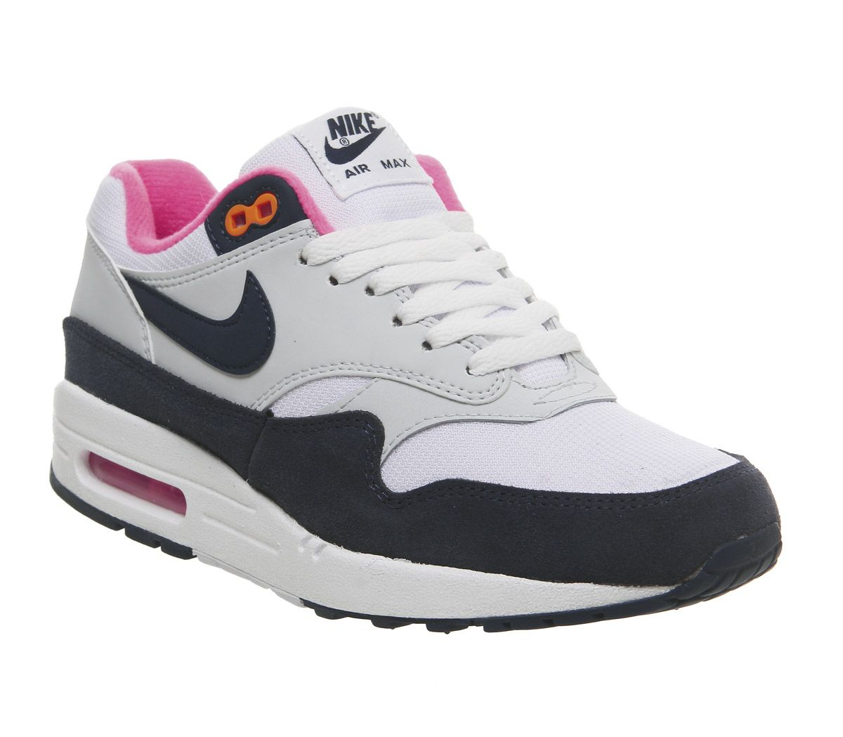sports shoes d7626 ff2f3 Nike Air Max 1 Trainers White Midnight Navy Pure Platinum Racer Pink ...