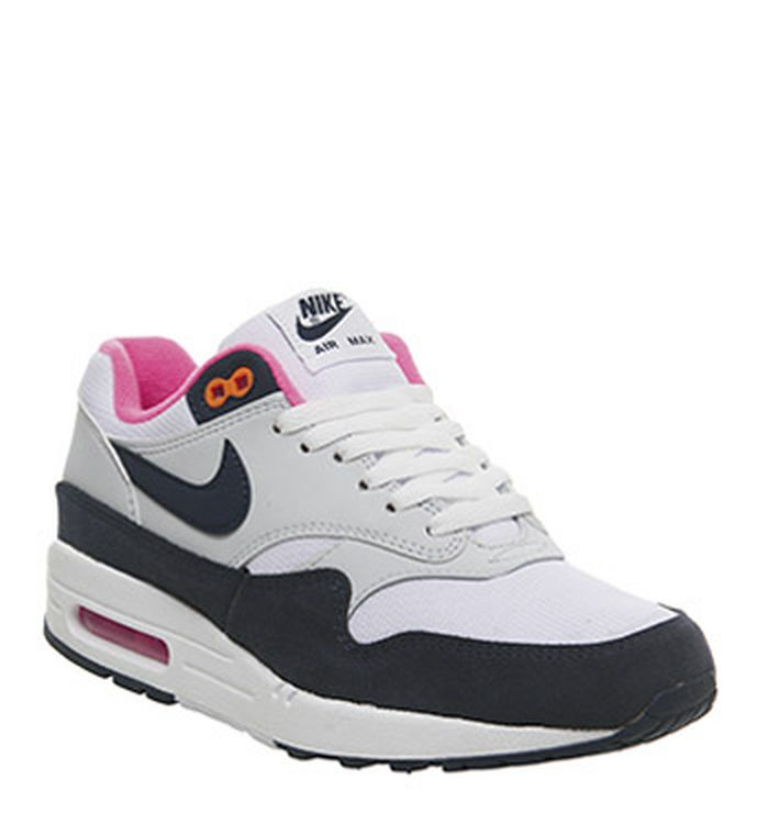 5e5116ec55eee Launching 22-02-2019 · Nike Air Max 1 Trainers White Midnight Navy Pure  Platinum Racer ...
