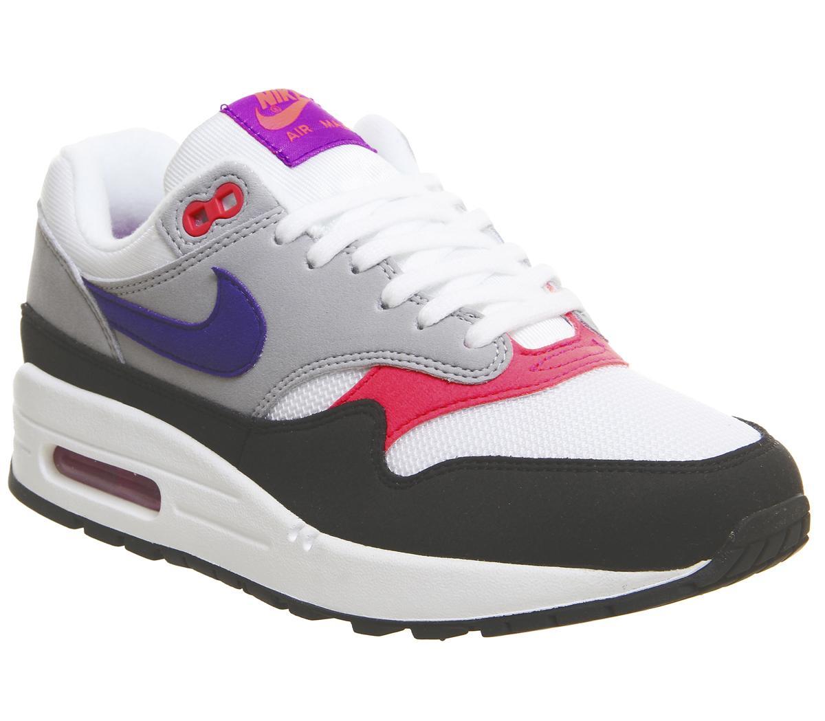 Nike Air Max 1 shoes white purple grey