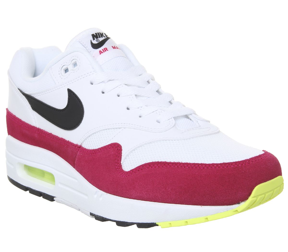 official photos dccfb e2392 Nike Air Max 1 Trainers White Black Volt Rush Pink - His trainers