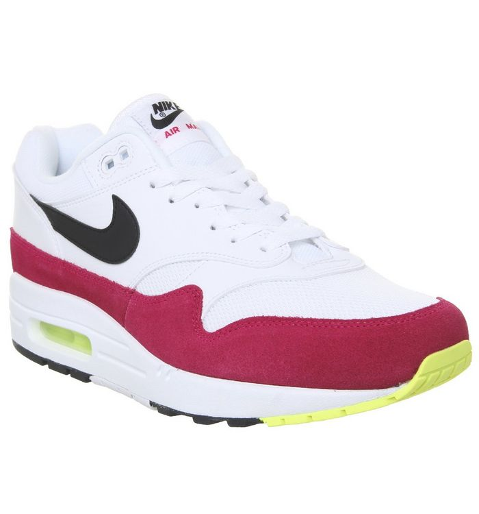 9caac3cfe6018 Nike Air Max 1 Trainers White Black Volt Rush Pink - His trainers