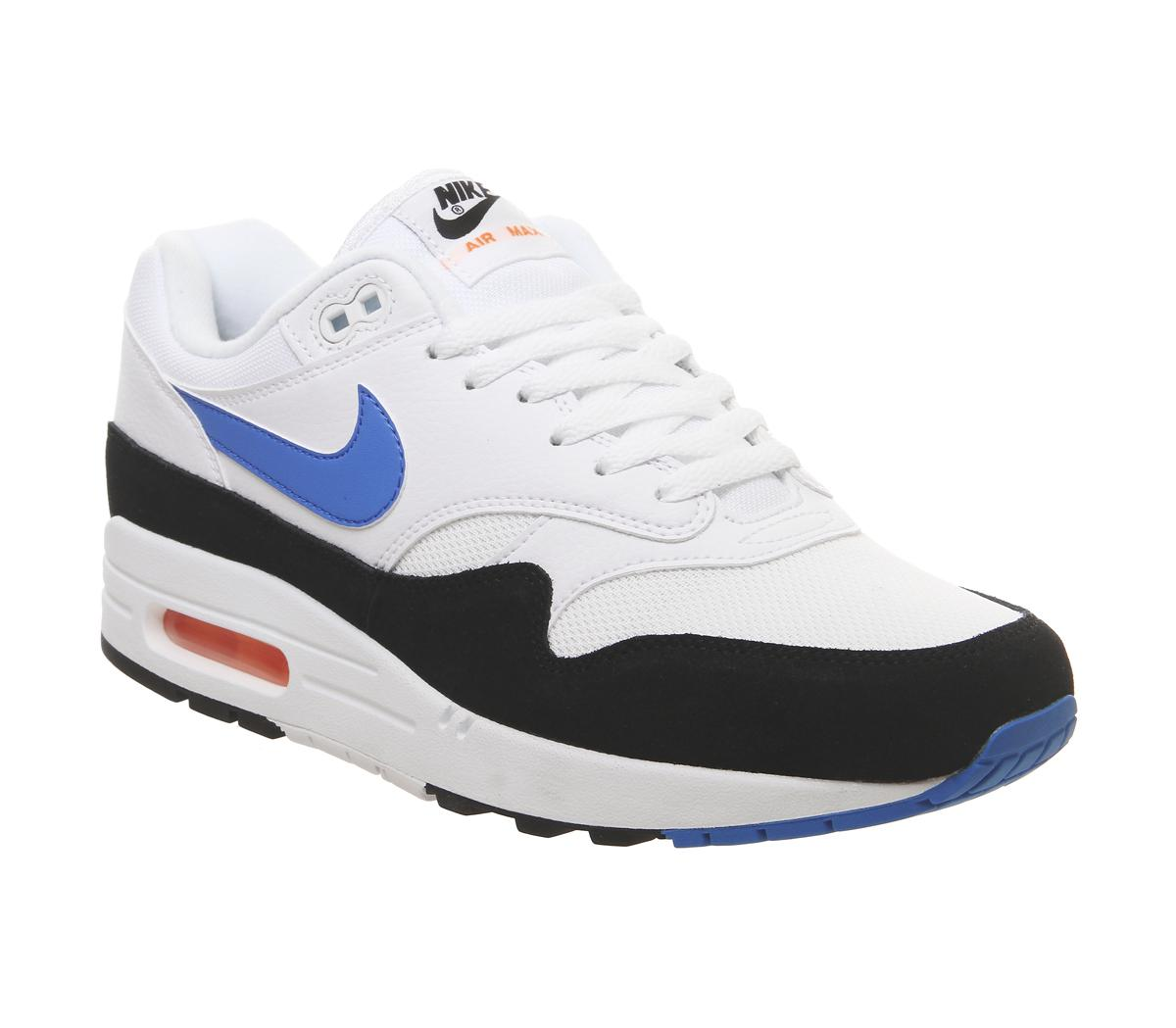 outlet store ff1af e8fdd Nike Air Max 1 Trainers White Photo Blue Total Orange Black - His ...