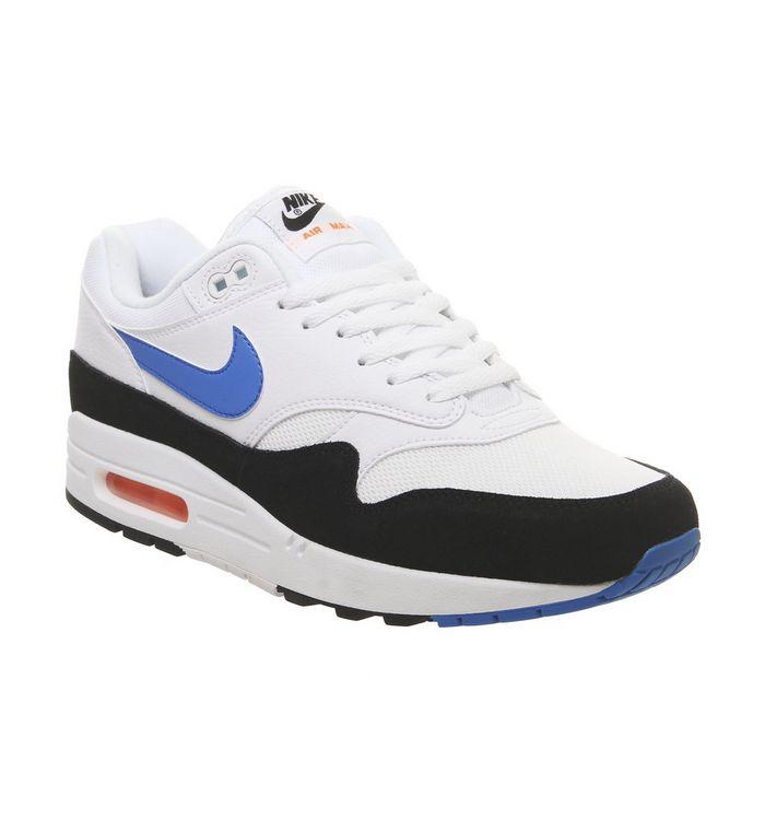 quality design d94ec 64470 Air Max 1 Trainers  Nike, Air Max 1 Trainers, White Photo Blue Total Orange  Black ...