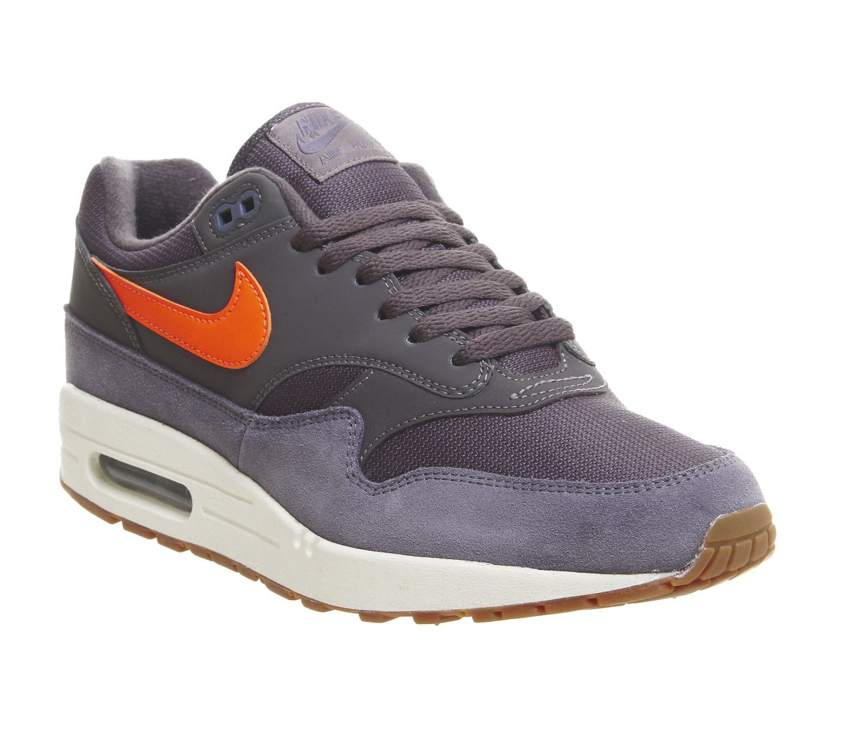 promo code fcaf3 97c08 Nike Air Max 1 Trainers Thunder Grey Total Orange White Gum - His ...