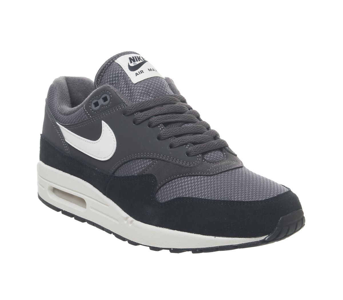 separation shoes 53a8e 1959a Nike Air Max 1 Trainers Thunder Grey Sail Black - His trainers