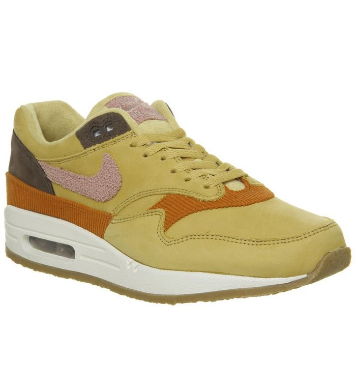 promo code 65f7a a65a8 Air Max 1 Trainers  Nike, Air Max 1 Trainers, Wheat Gold Pink Crepe Sole ...