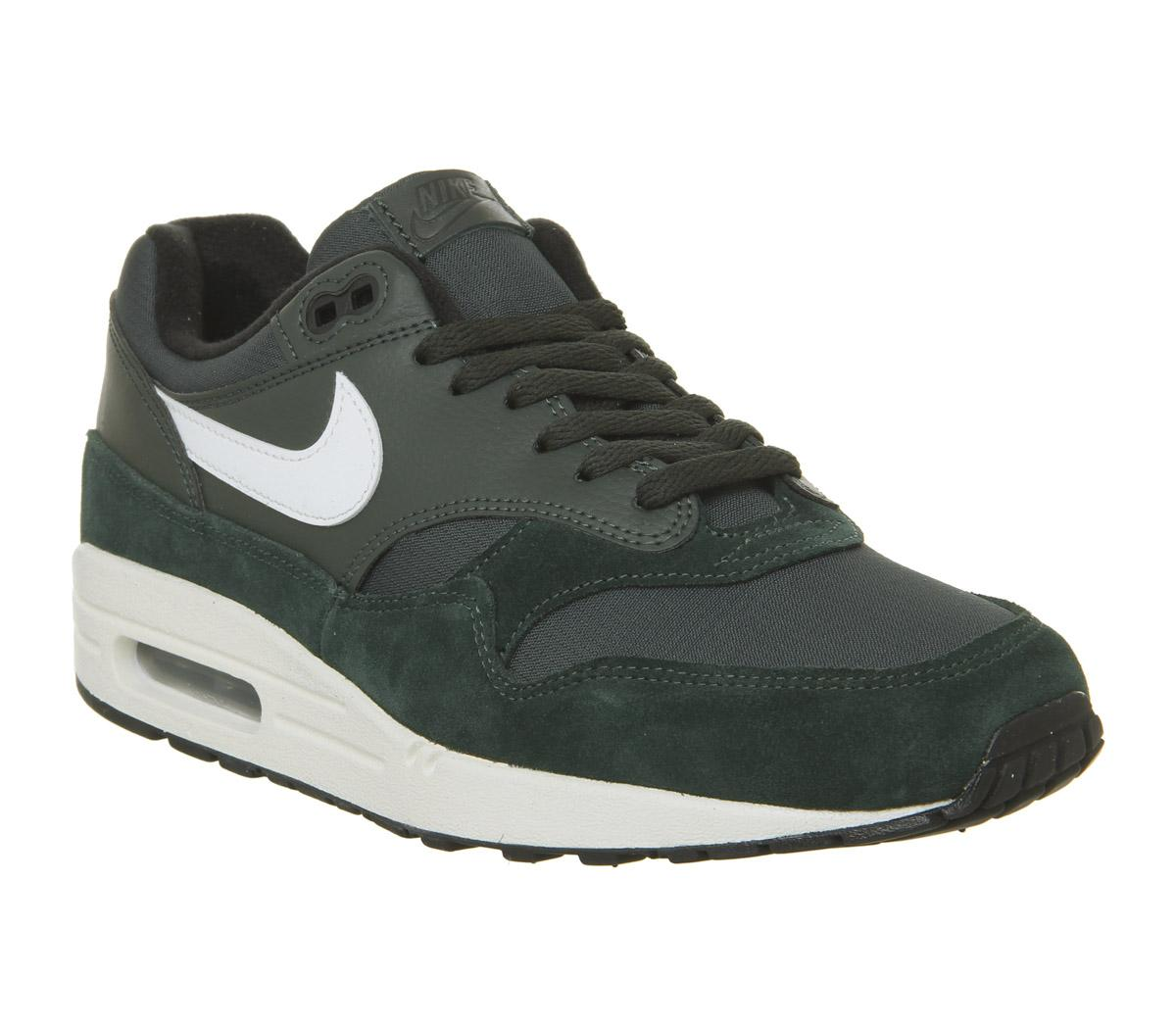 nike grey and green air max 1 trainers