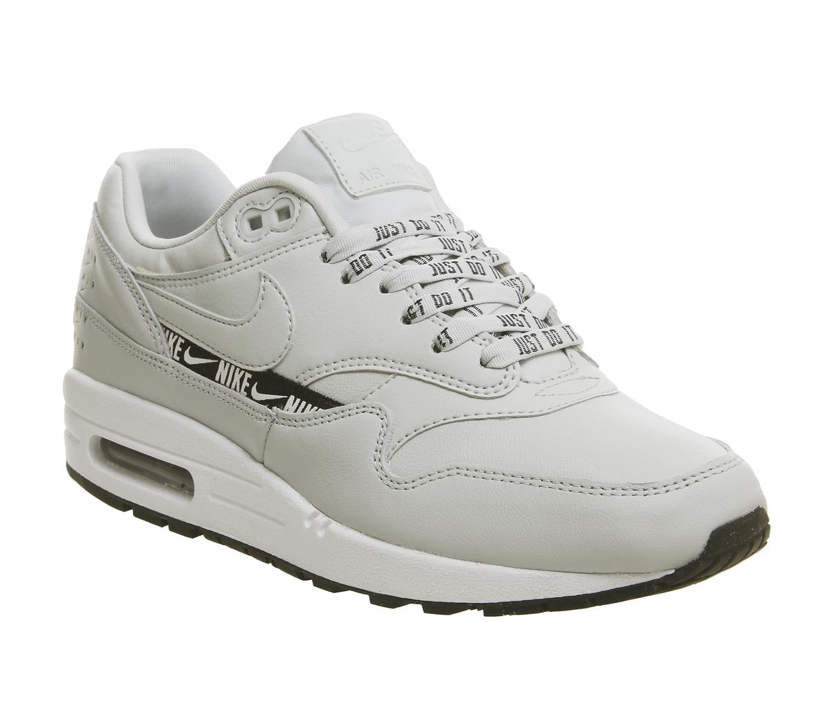 762b280653b0 Nike Air Max 1 Trainers Light Silver Black White - Hers trainers