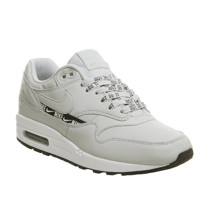 e7f67f00fdbca Nike Air Max 1 Trainers Light Silver Black White - Hers trainers