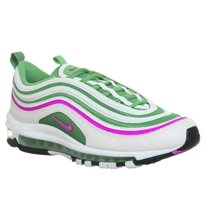 e3fdf32ef5 Air Max 97 Trainers; Nike, Air Max 97 Trainers, White Pink Kinetic Green  Black ...