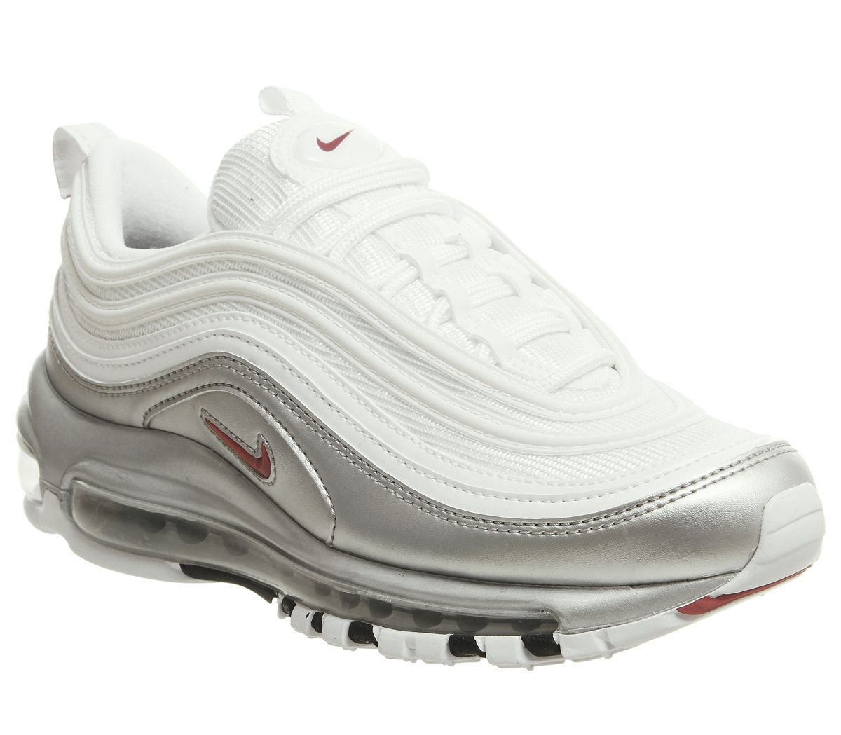 outlet store 1419f cd289 Nike Air Max 97 Trainers White Red Silver - Hers trainers
