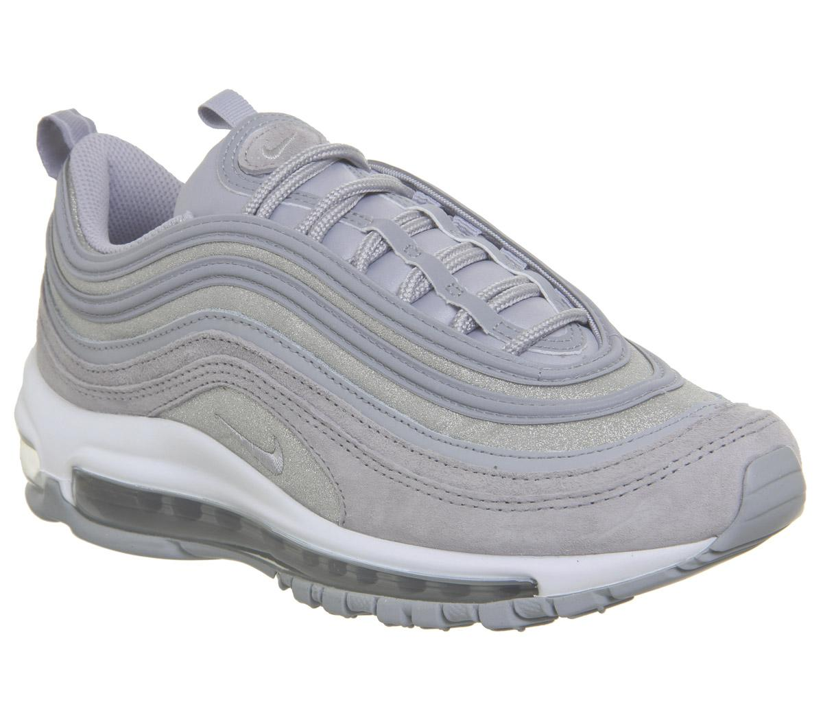 Nike Air Max 97 Trainers Wolf Grey Pure Platinum White Glitter F ...